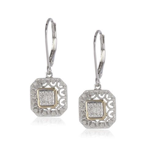 1/10 ct Diamond Filigree Drop Earrings in Sterling Silver & 14K Gold