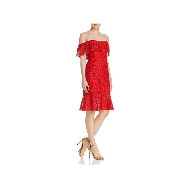 b46728bbb2ca Shop BCBG Max Azria Womens Cocktail Dress Lace Ruffled - Free Shipping  Today - Overstock - 28018008