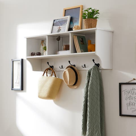 5 Hook Wall Mounted Coat Rack with Storage - 11.4 x 44.1 x 16.5