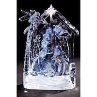 "8.5"" Icy Crystal LED Lighted Nativity Scene Christmas Table Top Figure - CLEAR"
