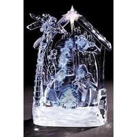 "8.5"" Clear Icy Crystal LED Lighted Nativity Scene Christmas Tabletop"