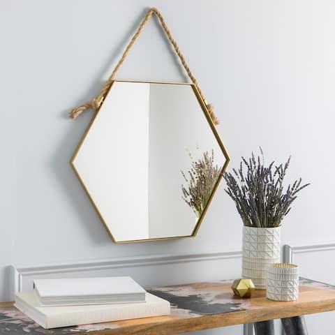 "Tedd Gold Modern Nautical Hanging 21-inch Hexagonal Mirror - 21""H x 24""W"