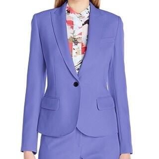 Anne Klein NEW Blue Chicory Women's Size 14 Stitch-Trim Blazer
