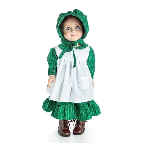 Little House On The Prairie 18 Inch Doll Clothes 3 Piece Prairie Dress, Apron, and Bonnet Compatible with American Girl Dolls