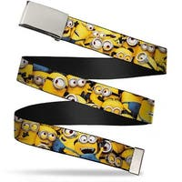 "Blank Chrome 1.0"" Buckle Despicable Me Minions Stacked Close Up Webbing Web Web Belt 1.0"" Wide - S"