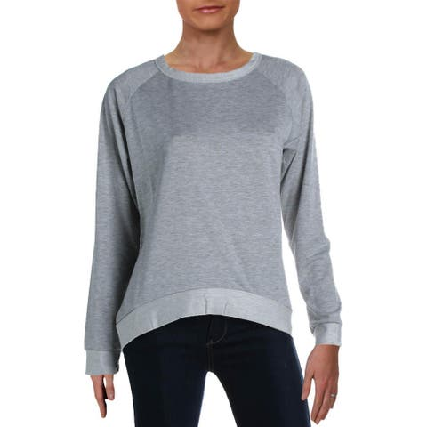 French Connection Women's Reversed French Terry Long Sleeve Pullover Lounge Sweater - Heather Grey