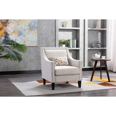 Nestfair Accent Armchair Living Room Chair with Nailheads and Solid Wood Legs