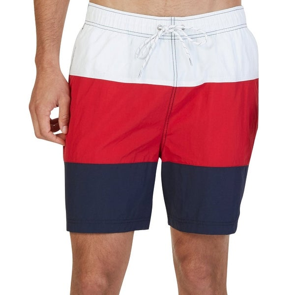 ede2b7085f Shop Nautica NEW Red Navy White Colorblocked Mens Size XL Trunks Swimwear - Free  Shipping On Orders Over $45 - Overstock - 19877879
