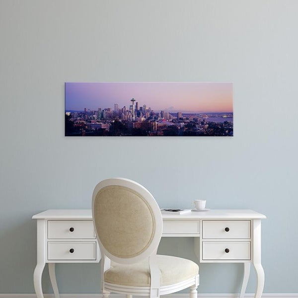 Easy Art Prints Panoramic Images's 'A city at sunrise, Seattle, Mt Rainier, King County, Washington State' Canvas Art