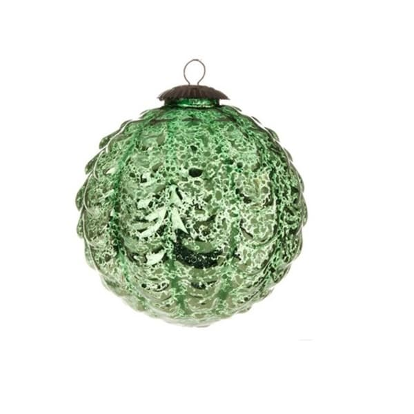 """4"""" Decorative Dark Green Scalloped Antiqued-Style Christmas Glass Ball Ornament"""