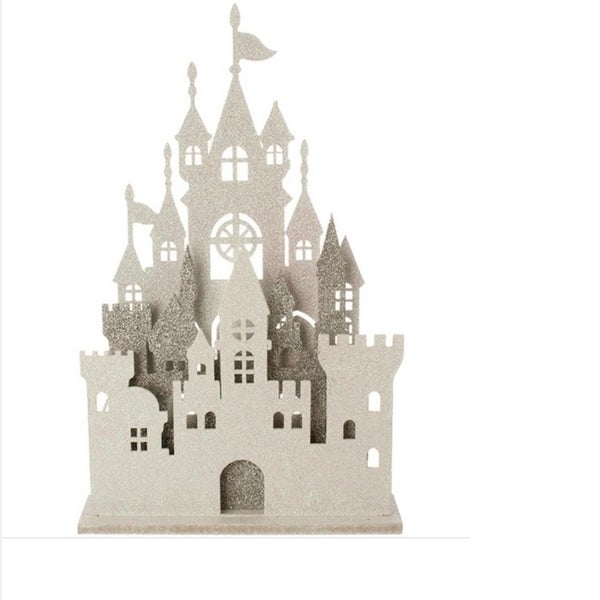 """16.5"""" Ice Palace Silver and White Glittered Pre-Lit Castle Facade Table Top Decoration"""