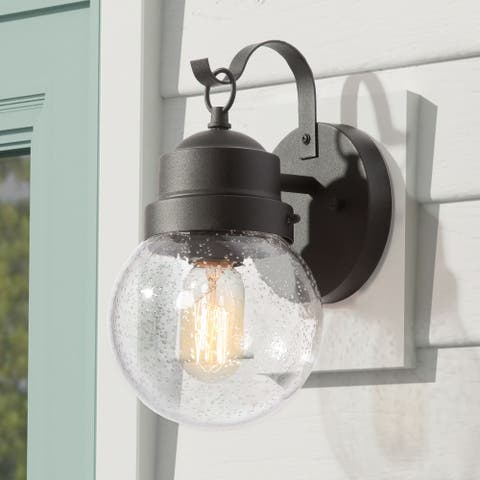 "Modern Rustic Outdoor Wall Sconce Globe Glass Shade Wall Lighting - L 6""x W 7""x H 11"""