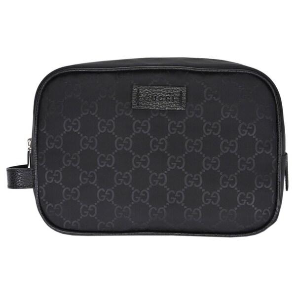 b3077fafc875 Gucci Men's 510338 Black Nylon GG Guccissima Large Toiletry Dopp Bag