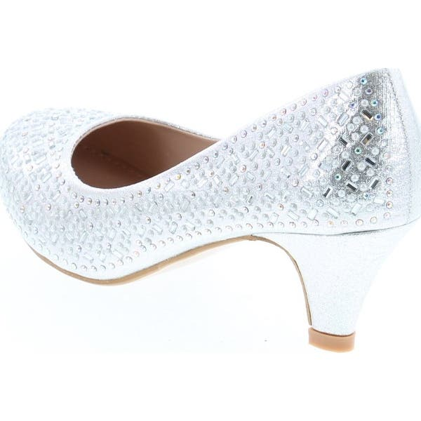 Nanette Lepore Girls Low Heel Rhinestone Dress Shoes Silver