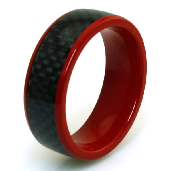 Red Coated Titanium Black Carbon Fiber Inlay Ring