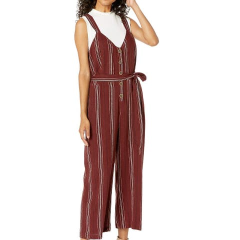 Sanctuary Women's Jumpsuit Deep Red Size XS Striped Belted Sedona