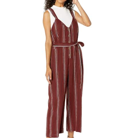 Sanctuary Women's Jumpsuit Red Size Small S Button Front Tie Waist