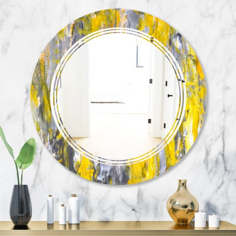 Designart 'Grey and Yellow Abstract Pattern' Modern Round or Oval Wall Mirror - Triple C