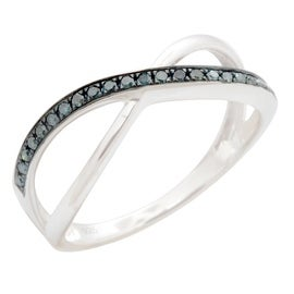 Brand New 0.14Ct Round Brilliant Cut Blue Color Natural Trated Diamond Half Eternity Ring
