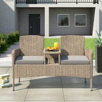 Deals on Corvus Armitage Outdoor Wicker Tete-a-Tete Bench