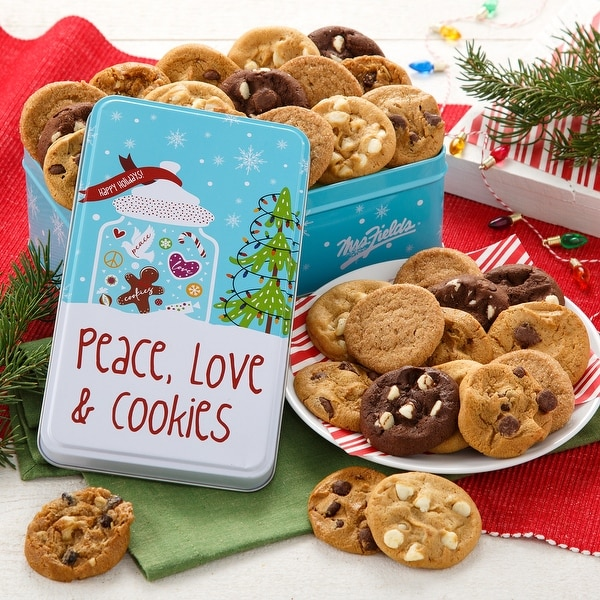 Mrs. Fields Peace, Love & Cookies 30 Nibblers® Bite-Sized Cookies Tin. Opens flyout.