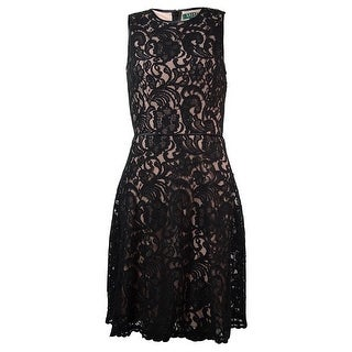 Lauren Ralph Lauren Women's Satin-Trim Lace Overlay Dress - Black