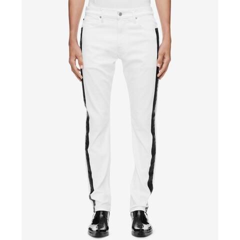 Calvin Klein Jeans Mens Jeans White Size 29X32 Two-Tone Slim Fit
