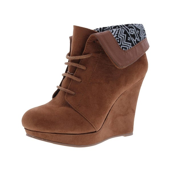 Private Label Womens Nomad Wedge Boots Cuffed Woven