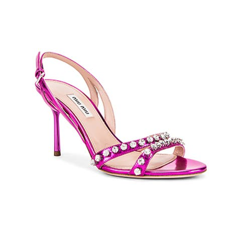 Miu Miu Women's Leather Crystal Embellished Strap Sandals Pink