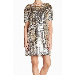 Free Press Silver Gold Womens Size Small S Sequined Shift Dress