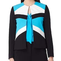 Tahari By ASL NEW Blue Womens Size 14 Colorblocked Flyaway Jacket