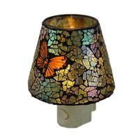 Mosaic Crackled Glass Butterfly Plug In Night Light - Multicolored