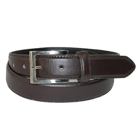 CTM® Men's Leather 1 1/8 Inch Basic Dress Belt with Silver Buckle