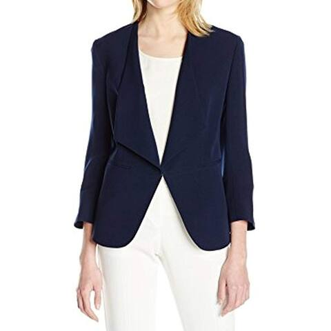 Nine West Women's Blazer Midnight Blue Size 16 Ruched Sleeve 1-Clasp