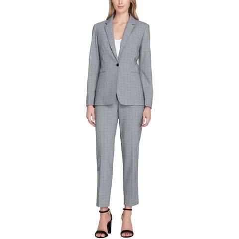 Tahari Womens Convertible Collar Pant Suit, Grey, 2