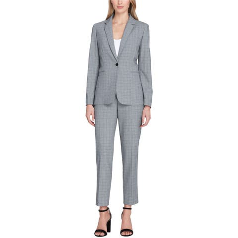 Tahari Womens Convertible Collar Pant Suit, Grey, 2