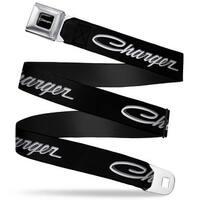 Charger Script Emblem Corner Full Color Black Silver Fade White Charger Seatbelt Belt