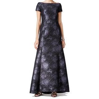 B Michael America NEW Purple Black Women 8 Boat-Neck Mermaid Gown