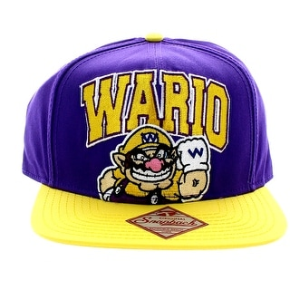Super Mario Bros. Wario Mens Purple Snapback Cap