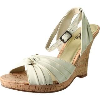 Carlos by Carlos Santana Womens Ripple Leather Metallic Wedge Heels - 10 medium (b,m)