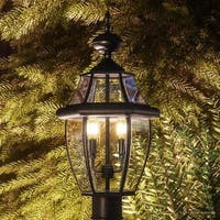 "Luxury Colonial Outdoor Post Light, 21""H x 11""W, with Tudor Style, Versatile Design, Black Silk Finish"