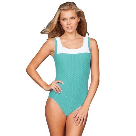 Paula Beachwear Jade Color Block Swordfish One Piece Swimsuit - Green