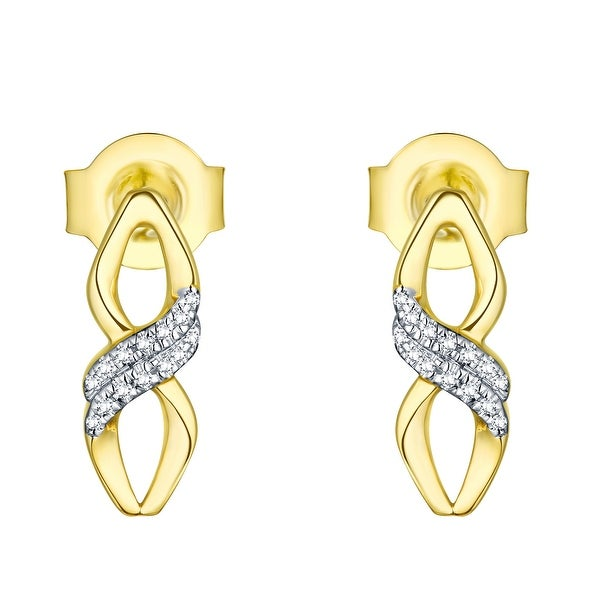 Prism Jewel 0.03CT Round Cut Natural G-H/I1 Diamond Push Back Earring - White G-H
