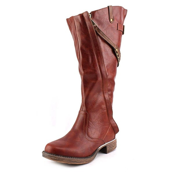 Two Lips Pull Up Women Round Toe Synthetic Brown Knee High Boot