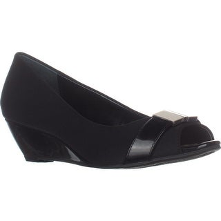 A35 Chorde Peep Toe Wedge Pumps, Black