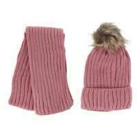 Foemo Kids' Ribbed Knit Winter Hat and Scarf Set