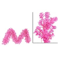 "9' x 14"" Pre-Lit Hot Pink Wide Cut Laser Tinsel Christmas Garland - Pink Lights"