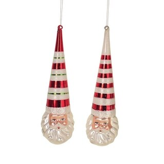 """Pack of 6 Embellished and Festive Santa Hat Christmas Glass Ornament 9.5"""""""