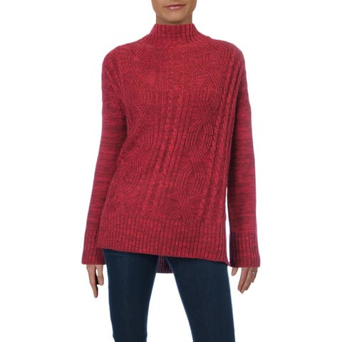 Matty M Womens Cher Mock Turtleneck Sweater Cable Knit Pullover - Cherry