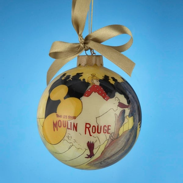 """Moulin Rouge: La Goulue Hand-Painted Glass Christmas Ball Ornament 4"""" (100mm)"""